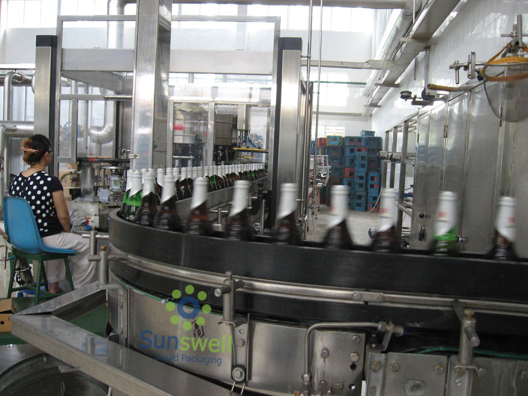 Fully Automatic Beer Filling Machine Glass For Glass Bottle With 1500BPH - 16000BPH Capacity